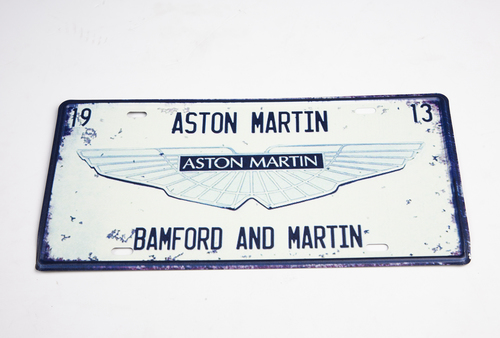 RETRO ASTON MARTIN TIN PLATE SIGN - WHITE - AWSIGN4
