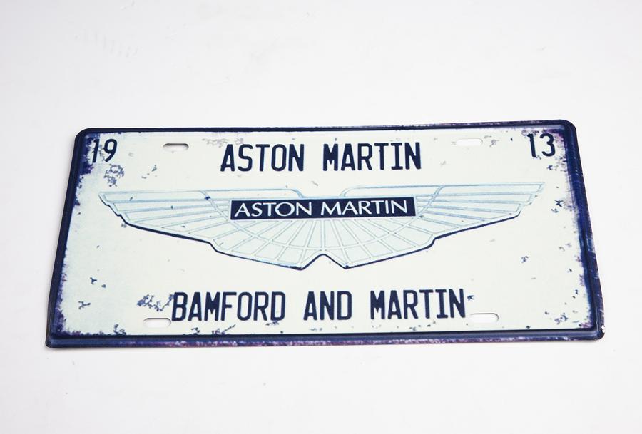 Retro Aston Martin Tin Plate Sign - White