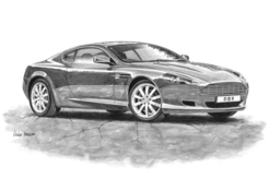 DB9 Black & White A3 Print - Mike Harbar - AWMH0082