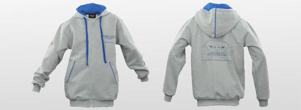 Aston Martin Kids Full Zip Hoodie - Grey/Blue