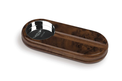 Aston Martin Solid Walnut Ashtray with Sterling Silver Dish - AH1018