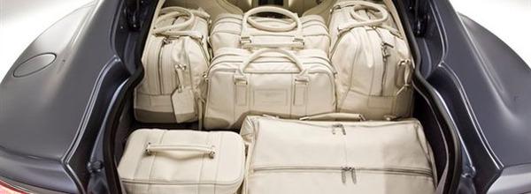 Cream leather garment bag